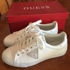 BRAND NEW WHITE GUESS SHOES! Brand new authentic Guess tennis shoes! Never worn! Perfect condition. Box included. White leather. Size 8M Guess Shoes Sneakers