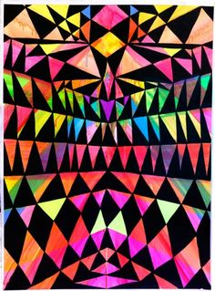 Artwork by Maya Hayuk Geometric Pattern Design, Geometric Shapes, Maya Hayuk, Cool Patterns, Print Patterns, Aztec Patterns, Graffiti, Hard Edge Painting, Isometric Design