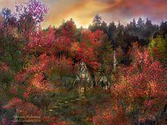 Autumn Mixed Media - Autumn Hideaway by Carol Cavalaris Fall Tree Painting, Decoupage, Old Cottage, Aspen Trees, Nature Collection, Autumn Trees, Autumn Art, Autumn Leaves, Secret Places