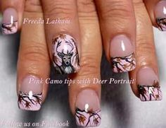 Love these pink camo tips with deer pirtrait!