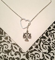 Law necklace with scale of justice charm and heart, silver, lariat necklace, handmade jewelry, lawyer