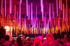 Brisbane Festival: Raining lights pour down on Brisbane Festival revellers. Festival Guide, Festival Image, Event Calendar, City Lights, Brisbane, Australia, Tours, Bath, Places