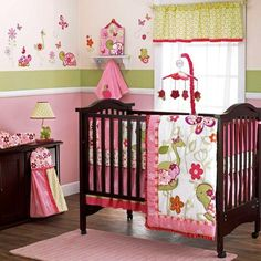 Pink and Green Girl Frog Turtle Flamingo Butterfly Baby Nursery Crib Bedding Set - super cute
