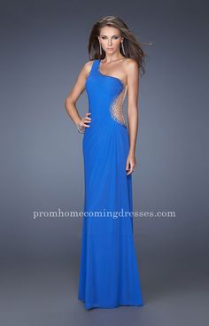 La Femme 19935 Sheer Back Asymmetrical One Shoulder Electric Blue Prom Dress  Cheap Prom Dresses 467130fee