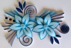 Quilling cards with two blue flowers. by Kartolina Quilling quillingcards1.blogspot.com