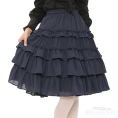 frill skirt Personal Brand: mille fleurs ¥ 9,990 including tax Notation size: M Length: 60cm West rubber Polyester: 100% Rank B: dirt-free used clothes Used Lolita clothing shop Wunderwelt http://www.wunderwelt.jp/products/detail1665.html