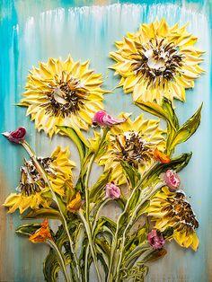30x40 - Acrylic on Canvas - Flora Series: Sunflowers- Artist, Justin Gaffrey