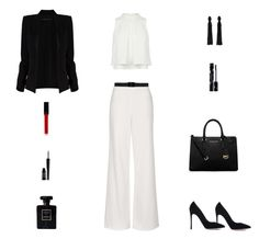 """""""Contest: Black & White Fall Outfit"""" by billsacred ❤ liked on Polyvore featuring Topshop, Gianvito Rossi, Marni, MICHAEL Michael Kors, Oscar de la Renta, Alexandre Vauthier, Chanel, Witchery, Shiseido and Lord & Berry"""