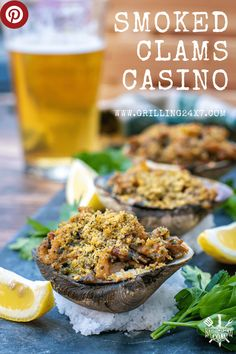 clams casino is a fantastic buttery seafood recipe but its even more amazing on the pellet smoker. Clam Recipes, Seafood Recipes, Fish Recipes, Vegetable Recipes, Asian Recipes, Pellet Grill Recipes, Grilling Recipes, Grilling Ideas