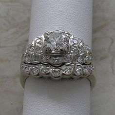 Vintage Antique Style White Gold Diamond Engagement Ring and Wedding Band Set 1.16 Cts.