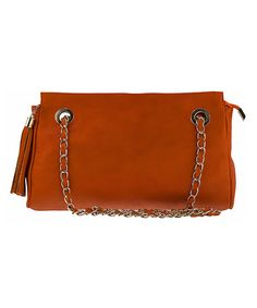 Look what I found on #zulily! Orange Chain-Strap Leather Shoulder Bag #zulilyfinds