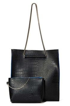 This croc-embossed faux leather black tote is about to be your go-to bag.