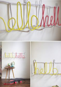 DIY Letters Coatrack from Oh Happy Day. :) Looks really easy and cute!