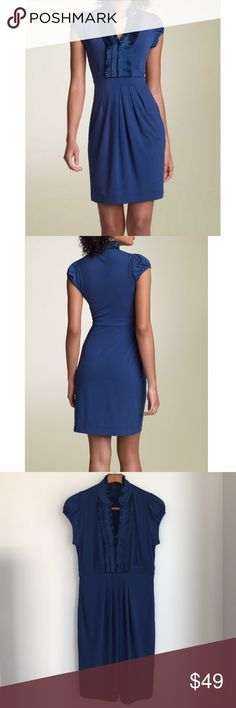 BCBG - Holiday Tuxedo Trim Matte Blue Dress, M Charmeuse ruffles trim the Mandarin collar and split neckline of a matte jersey dress styled with cap sleeves. Pleating below the banded waist lends to perfect draping across the waist and hips.  Above the knee.  Size M, fits 8-10. BCBG Dresses