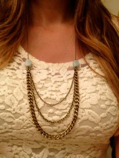 Multi Chain Blue Stone Necklace by elladolce on Etsy, $26.00 love this!!!