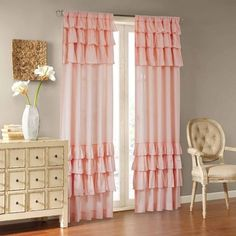 Home Essence Ariana Cotton Oversized Ruffle Panel, Pink Cortinas Shabby Chic, Country Farmhouse Decor, Colorful Curtains, Shabby Chic Kitchen, Drapes Curtains, Pink Ruffle Curtains, Bedroom Curtains, Curtain Panels, Valances