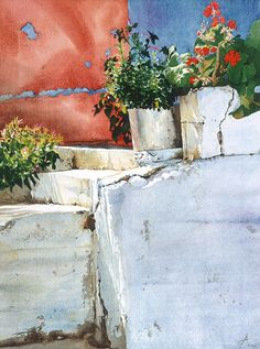 Flowerpots on whitewashed steps against a red by AnneliesClarke