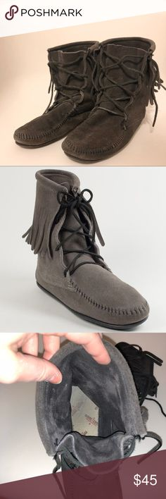 Minnetonka Moccasins Dark Gray Booties Limited edition dark gray booties. So comfortable and warm. Minnetonka Shoes Ankle Boots & Booties