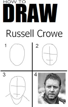 how to draw Russell Crowe