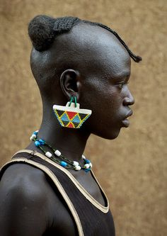Africa   Tsemay man at Key Afer a quiet village in Omo valley - except on Market…
