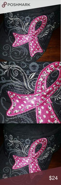 ????NEW???? Breast Cancer Ribbon Black Scroll Hat Elegant in design with an edgy touch. Black, white and pink Adjustable  Rhinestone on pink ribbon  Scroll Ink print design  ????NEW quality item ???? Accessories Hats