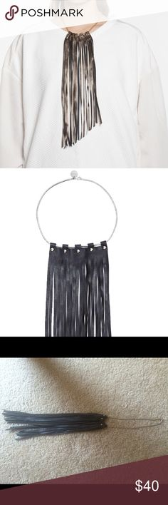 """JAKIMAC Warrior Fringe Necklace The JAKIMAC Warrior Fringe Necklace is crafted from the softest lambskin leather.Asymmetrical cut at the base and fixed with dome rivets to a 15"""" snake chain necklace. Choose from black leather with silver hardware or or a festive bronze leather with gold hardware. Cheaper on Ⓜ️er cari  Necklace fringe is 12"""" long 100% Lambskin leather Made in Los Angeles Urban Outfitters Jewelry Necklaces"""