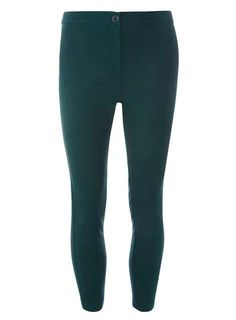 Green Textured Skinny Trousers