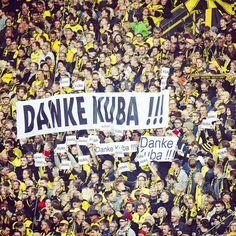"Die Gelbe Wand sagt ""Danke, Kuba!"" // ""Thank you, Kuba!"" #bvbb04 #bvb #dortmund #borussiadortmund #fans #supporters #gelbewand #yellowwall #südtribüne #kuba #blaszczykowski #latergram"