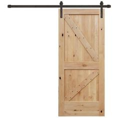 Pacific Entries 36 in. x 84 in. Rustic Unfinished 2-Panel V-Groove Right Knotty Alder Wood Barn Door with Bronze Sliding Door Hardware