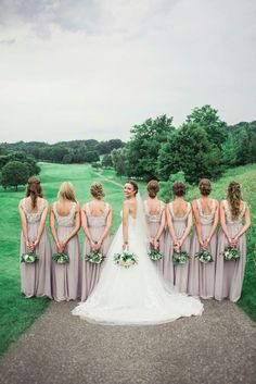 Love these open back brides maid dresses.