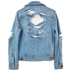SO RIPPED DENIM JACKET (€100) ❤ liked on Polyvore featuring outerwear, jackets, tops, coats & jackets, blue jean jacket, blue jackets, distressed denim jacket, denim jacket and blue denim jacket