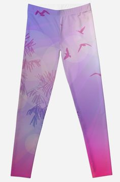 'Silhouette of palm trees and birds, sky pink background, sunset, dawn. ' Leggings by EkaterinaP Gothic Leggings, Palm Trees, Dawn, Personal Style, Birds, Silhouette, Sky, Sunset, Trending Outfits