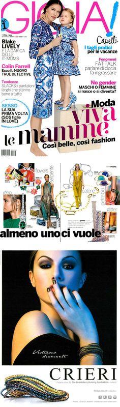 ❖Visto su #GIOIA – Luglio 2015❖ #Cashmere e Tennis #Color Collection | #tennis #trendy #jewelry #fashion #gold #oro #valenza #vestiamodiamanti #tennispassion #tennisclub #glamour #crieri #chic #lifestyle #bracelets
