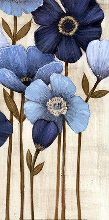 ▨texturas - Fine-Art Print - Fleurs Bleues II by Maja Art Floral, Canvas Art, Canvas Prints, Fabric Painting, Blue Flowers, Pink Tulips, Painting Inspiration, Flower Art, Watercolor Art