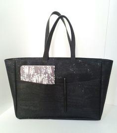 Cork big tote bag LE CABAS black Marina Kleist | Kork Tasche groß schwarz