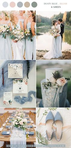 dusty blue and blush wedding colors for fall season october wedding colors schemes / fall wedding ideas colors october / fall wedding ideas november / fall winter wedding / fall colors for wedding Blush Wedding Colors, Blue And Blush Wedding, Wedding Color Pallet, Sage Wedding, Dusty Blue Weddings, Wedding Color Schemes, Summer Wedding, Wedding Flowers, Dream Wedding