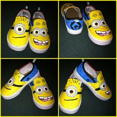 I have to design some minion shoes! Painted Canvas Shoes, Custom Painted Shoes, Custom Shoes, Minion Party Theme, Minion Birthday, 3rd Birthday, Birthday Ideas, Minions Friends, Minions Love