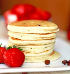 Homemade Pancakes. Perfect and fluffy. Sunday Mornings just got better - by Deliciously Yum!