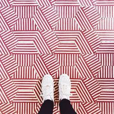 """I Have This Thing With Floors on Instagram: """"How about these amazing graphical red tiles 😍 Photo by @vikarrieta #ihavethisthingwithfloors #graphic #pattern #red #interiordesign…"""" Red Tiles, Uber Ride, Tile Design, Print Patterns, Flooring, Photo And Video, Instagram, Amazing, Prints"""
