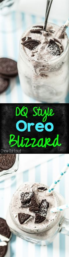 DQ Style Oreo Blizzard. Just as good as Dairy Queen but way cheaper to DIY. YUM! #oreo #blizzard #icecream www.chewoutloud.com