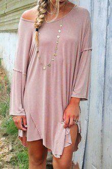 Pink One-Shoulder Long Sleeve Dress