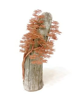 Copper Wire Sculpture Driftwood Sculpture Wire by BonsaiWireTree