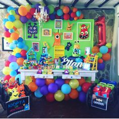 Boys First Birthday Party Ideas, Little Monster Birthday, Monster 1st Birthdays, 1st Birthday Decorations, Monster Birthday Parties, Mickey Birthday, Baby 1st Birthday, Monster Party, Birthday Party Themes