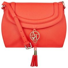 Armani Jeans Logo Tassel Cross Body Bag (6.555 RUB) ❤ liked on Polyvore featuring bags, handbags, shoulder bags, saffiano leather handbags, red cross body purse, red crossbody, imitation handbags and red purse