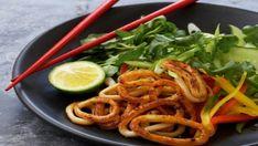 Look at this recipe - Asian calamari salad - and other tasty dishes on Food Network. Squid Salad, Fresh Coriander, Vegetable Salad, Seafood Dishes, Tasty Dishes, Food Network Recipes, Love Food, Salad Recipes, Calamari