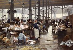Victor Gabriel Gilbert - Fish Hall at the Central Market (Paris, February 1847 - July was a French painter. [Private Collection - Oil on canvas] Gabriel, La Pie Monet, Paris Markets, Art Commerce, Central Market, Open Art, Poster Prints, Art Prints, Posters