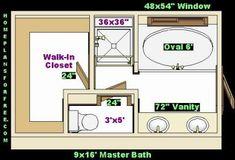 Master Bathroom Closet Combo | ... master bath with walk in closet 9x16 master baths left ideas design