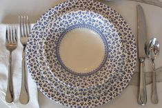 Provence Blue Chintz Calico English Ironstone 3 Piece Place | Etsy Blue And White Dinnerware, Little Unicorn, Royal Doulton, Vintage Table, My Favorite Part, Place Settings, Pattern Making, Dinner Plates, Provence