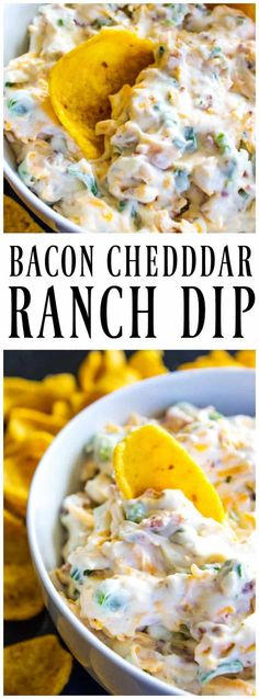 BACON CHEDDAR RANCH DIP - Easy to throw together & addictive. This dip is loaded with bacon, cheddar cheese & ranch, all the fixings of awesomeness. #dip #ranch #bacon #cheesedip #creamydip