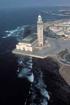 The Hassan II Mosque, Morocco, Casablanca Mosque Architecture, Art And Architecture, Marrakech, Casablanca Morocco, Beautiful Mosques, Morocco Travel, Place Of Worship, Moorish, Kirchen